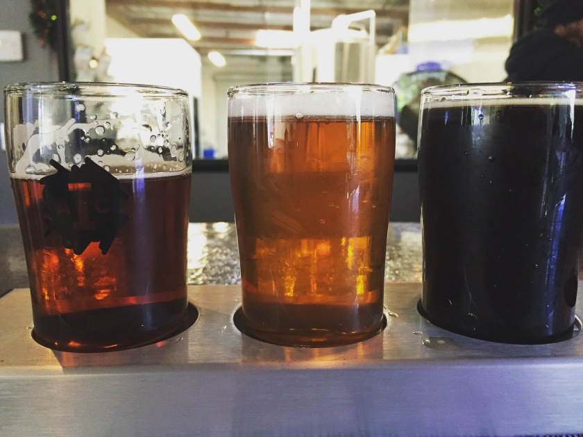 From left: Sedation, Progress Pale Ale (Citra) and Ratched Rye Porter. Three other strong beers from Institution Ale Company.